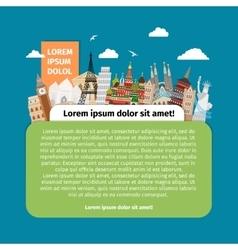 Postcard with world landmarks vector image