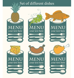 set dishes vector image vector image