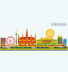 vienna skyline with color buildings and blue sky vector image