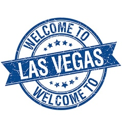 welcome to Las Vegas blue round ribbon stamp vector image