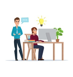 a man working at the computer comes up with a vector image