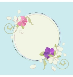 Apple iris and pink flower beautiful fame vector image