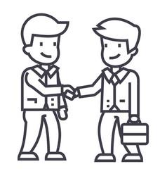 businessmen handshaking line icon sign vector image vector image