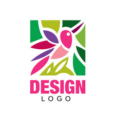 colorful logo design with abstract pink bird and vector image