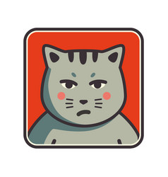 Cute sad grumpy cat icon cat avatar vector