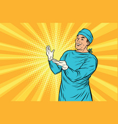 doctor surgeon after the surgery smiling vector image