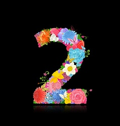 Fun number of fancy flowers on black background 2 vector image