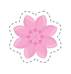pink flower garden decoration color cut line vector image