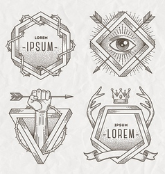 Tattoo style line art emblem vector