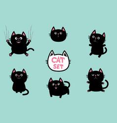 Black fat cat set cute cartoon screaming funny vector