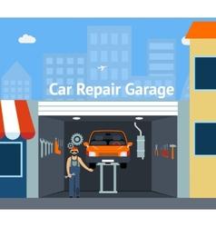 Cartooned Car Repair Garage vector image