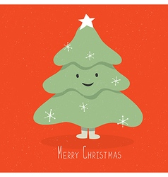 christmas tree cute character on red background vector image vector image