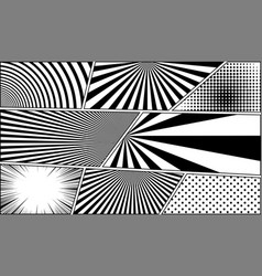 comic book monochrome blank backgrounds set vector image