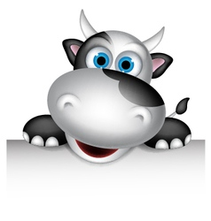 Cute cow cartoon with blank sign vector image
