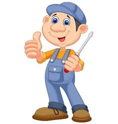 Cute mechanic cartoon holding a screwdriver and gi vector image