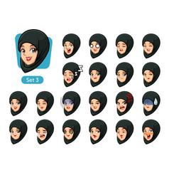 the third set of muslim woman cartoon avatars vector image vector image