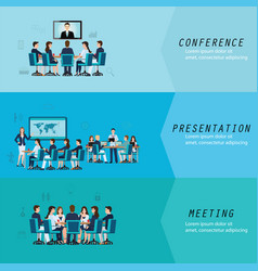 three horizontal set with business meeting vector image vector image