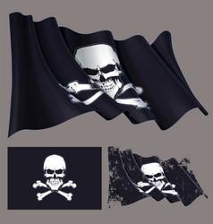 Waving pirate flag skull and bones vector