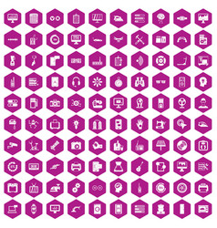 100 settings icons hexagon violet vector image