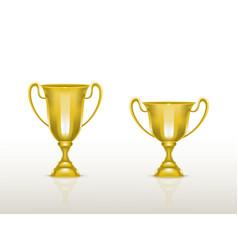 3d realistic cup golden trophy goblet vector image