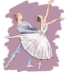 A couple dancing ballet vector