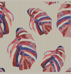 abstract color leaves monstera seamless background vector image