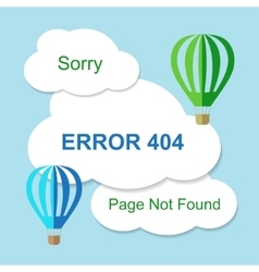 Air balloon with 404 error notification on white vector