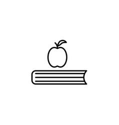 Apple on the book icon vector