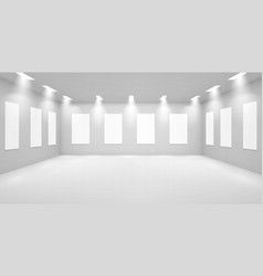 Art gallery empty 3d room with white walls museum vector