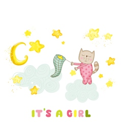 Baby girl cat catching stars shower card vector
