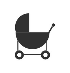 Black icon on white background baby carriage vector