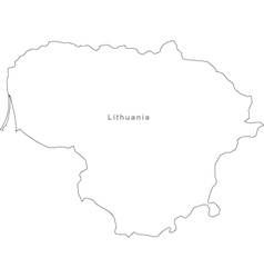 Black White Lithuania Outline Map vector