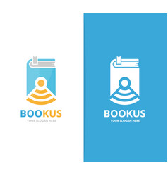 book and wifi logo combination novel and vector image
