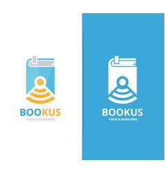 Book and wifi logo combination novel vector