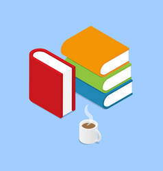Books and a cup of coffee on a blue background vector