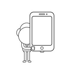 Businessman character holding smartphone black vector