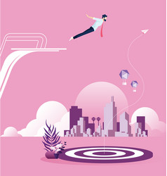 Businessman dive to a target from springboard vector
