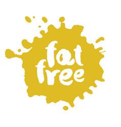 Calligraphy fat free label on a bot vector