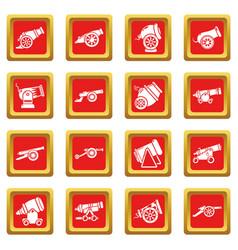 Cannon retro icons set red square vector