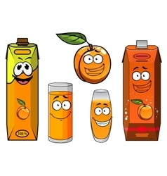 Cartoon apricot fruit juice and glasses vector image