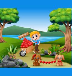 Cartoon boy pushing a pile of hearts in wood troll vector