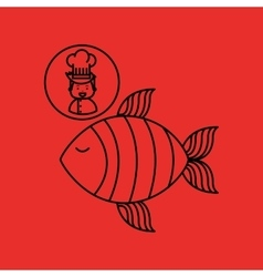 Cartoon chef gourmet fresh fish vector