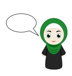 Cartoon girl with hijab vector image