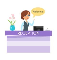 Cartoon style hotel receptionist vector