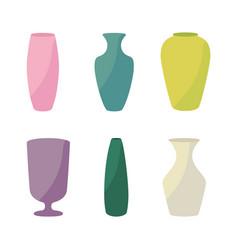 ceramic vases collection colored ceramics vase vector image