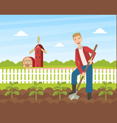 cheerful male farmer planting seedlings plants vector image