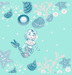 Childish print cute mermaid seashells marine vector