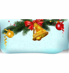 christmas background with bell and decoration vector image