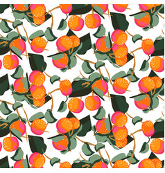 citrus mandarin fruit seamless pattern vector image