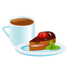 coffee cup with raspberry cake and mint vector image